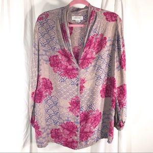Vintage 100% Silk Nora Noh Blouse, Size 18/20